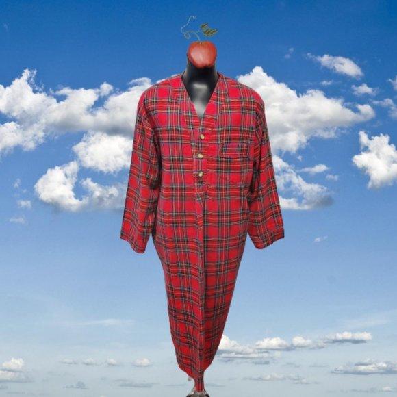 Vintage Red Stewart Plaid Flannel Nightshirt